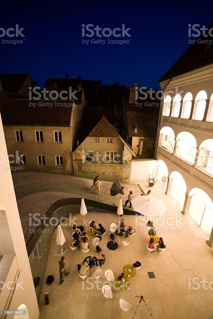 Courtyard at night royalty-free stock photo