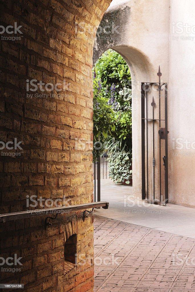 Courtyard Corridor Arch Entry Gate Villa Architecture royalty-free stock photo