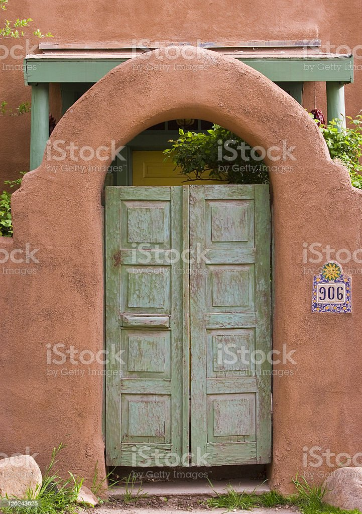 Courtyard Door, Southwest Adobe Style, Home, Entryway, Portico royalty-free stock photo