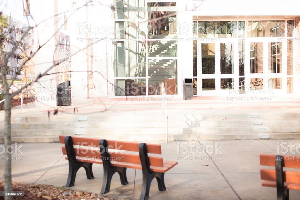 Courtyard, entrance to college building on campus. stock photo