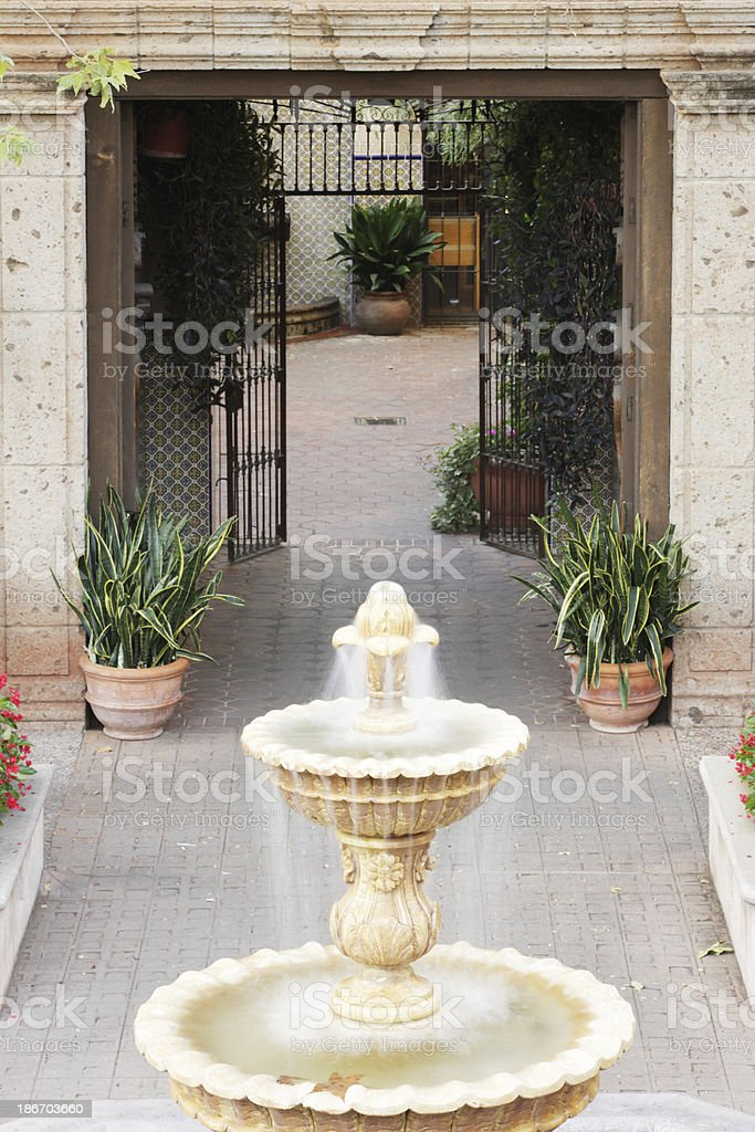 Courtyard Fountain Gate Corridor Architecture Decor stock photo