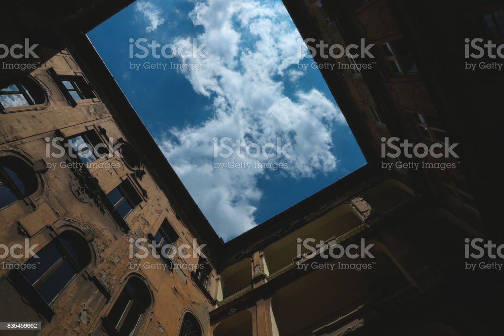 A courtyard in Budapest stock photo