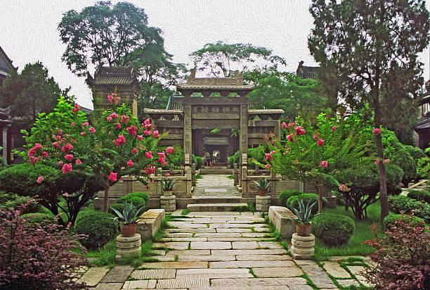 courtyard in great mosque, xi'an, china, oil paint stylization - hui architecture bildbanksfoton och bilder