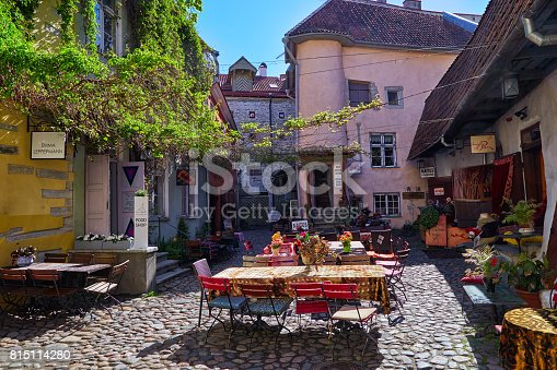 Courtyard of the masters in the historic center in a summer sunny day Tallinn, Estonia