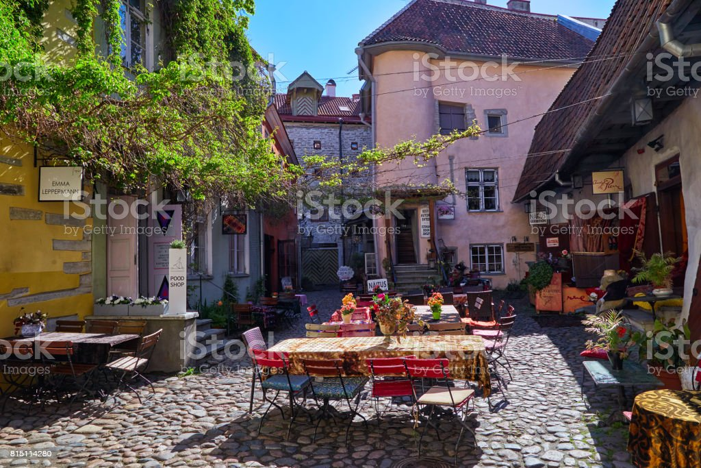 Courtyard in historic center in Tallinn stock photo