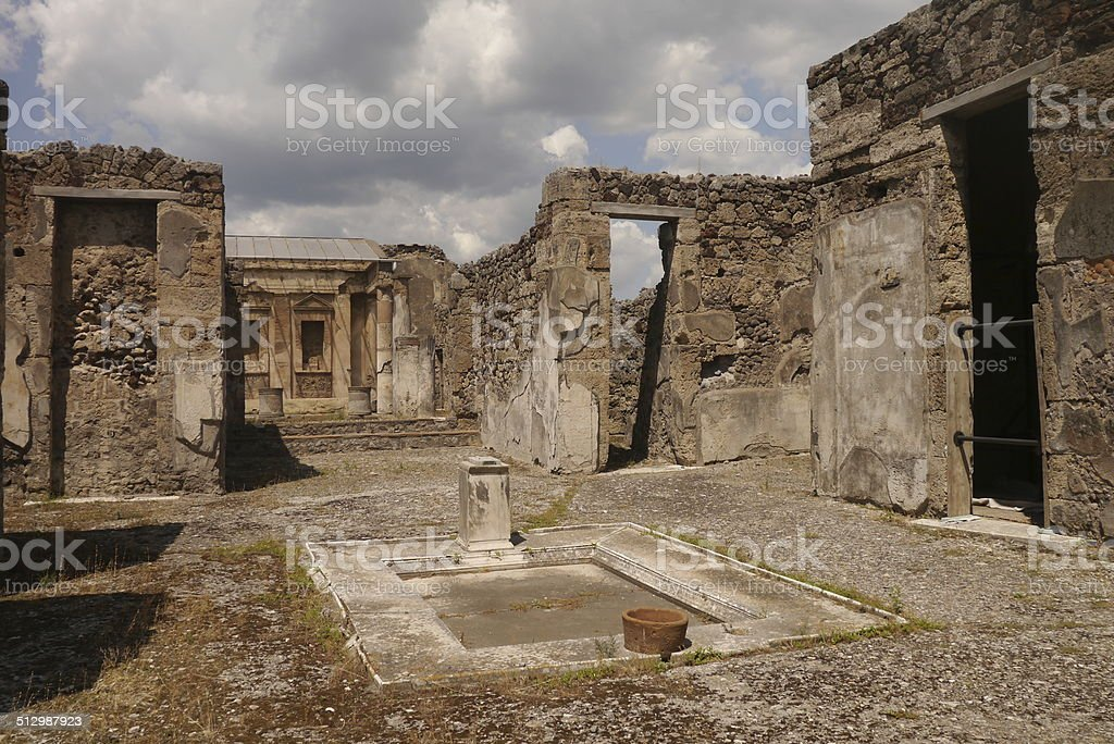 Courtyard in Pompeji stock photo