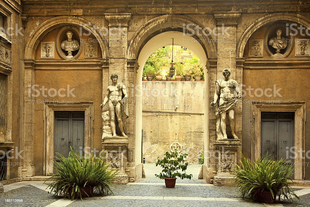 courtyard in Rome stock photo