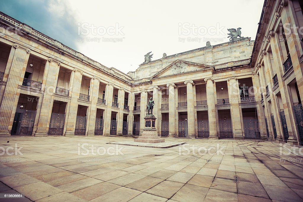 Courtyard inside National Capitol building, Bolivar Square in ce stock photo