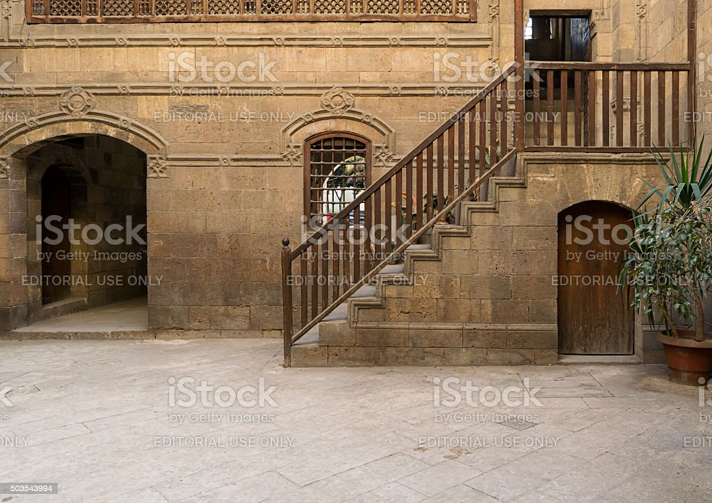 Courtyard of a historic house in Old Cairo, Egypt stock photo