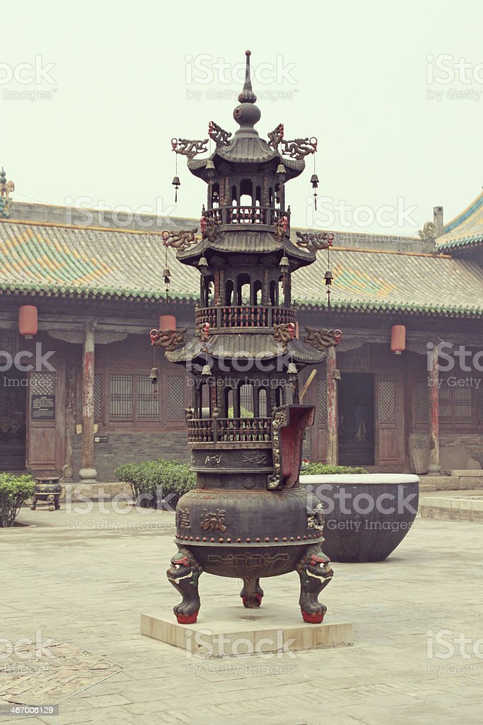 Courtyard of a historical house, Pingyao, China. royalty-free stock photo