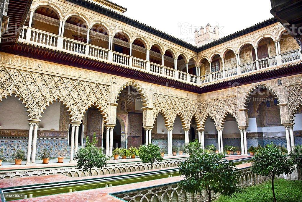 Courtyard of Alcazar, Seville,  Spain royalty-free stock photo