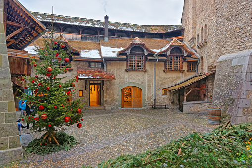 Courtyard of Chillon Castle with Christmas tree