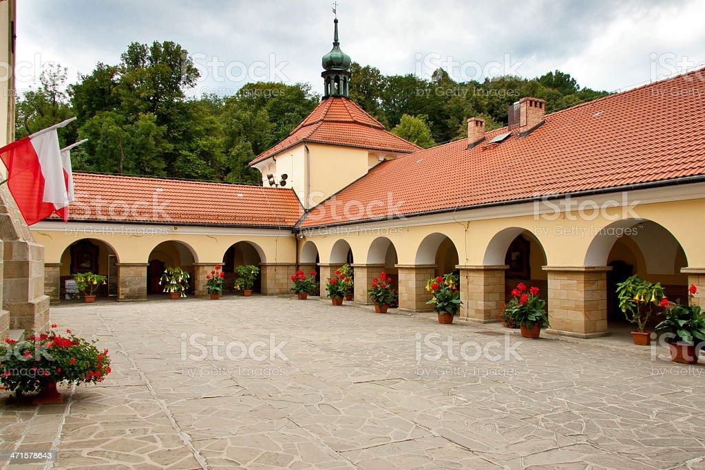 Courtyard of Church in Kalwaria Zebrzydowska. stock photo