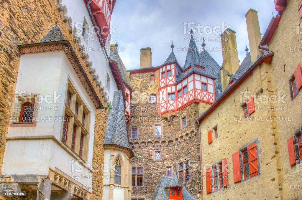Courtyard of Eltz castle in Germany Courtyard of Eltz castle in Germany Ancient Stock Photo