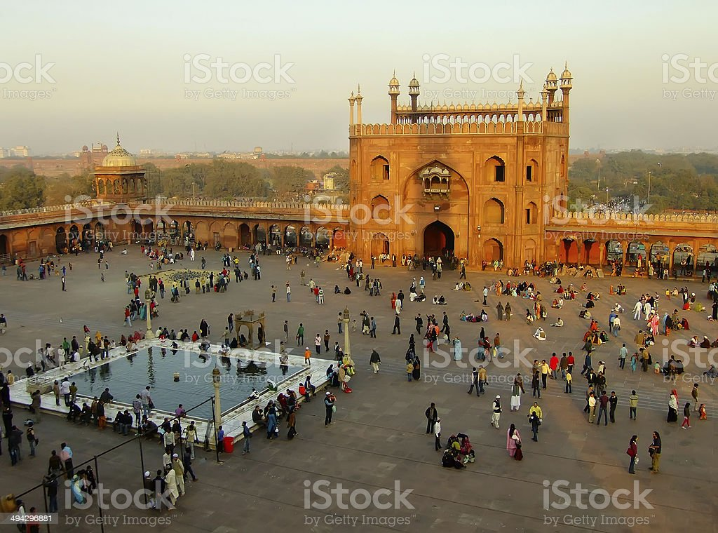 Courtyard of Jama Masjid, Delhi stock photo