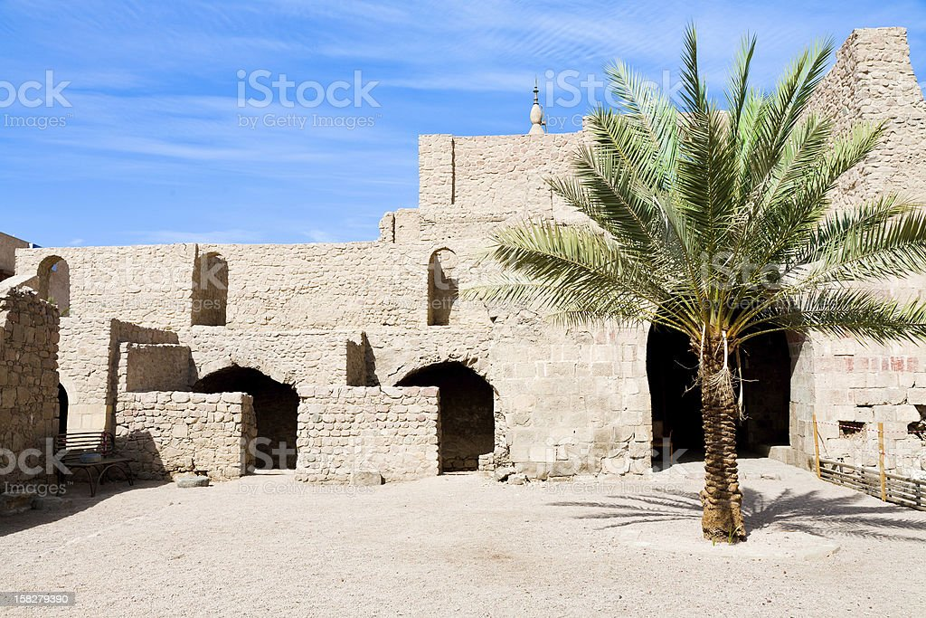 courtyard of medieval Mamluks fort in Aqaba stock photo