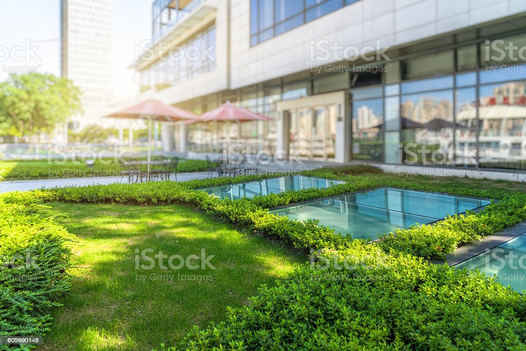 courtyard of modern hotel stock photo