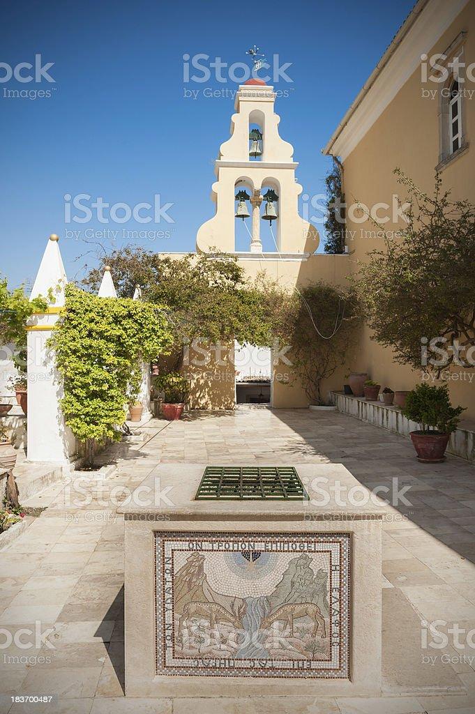 Courtyard of monastery in Paleokastritsa, Corfu, Greece stock photo