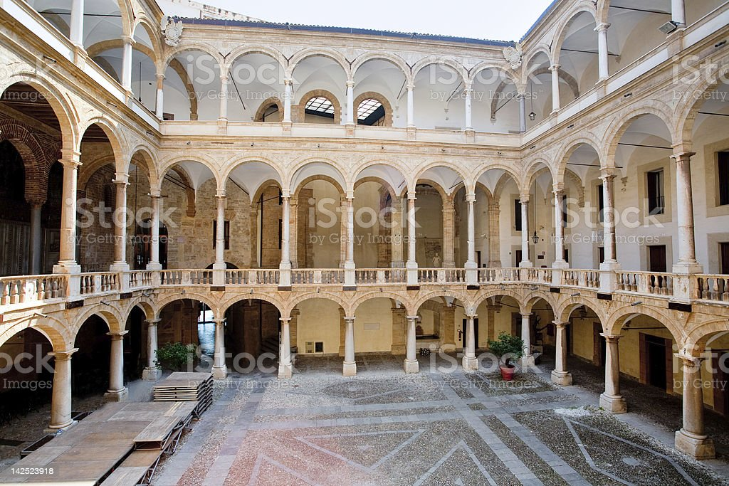 courtyard of Palazzo Reale in Palermo stock photo