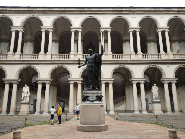 Courtyard of Pinacoteca di Brera art gallery in Milan, Italy stock photo