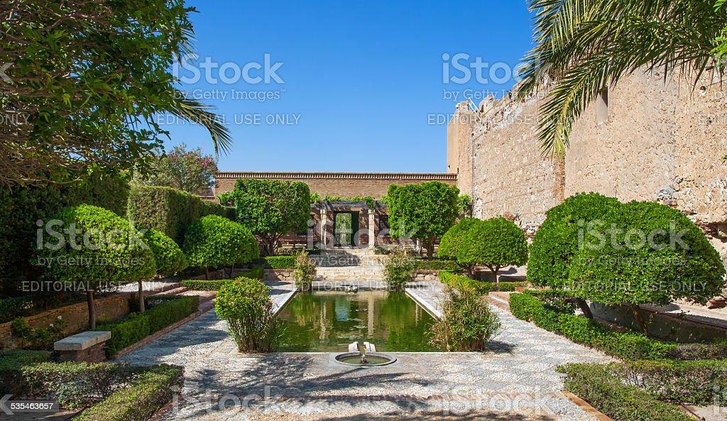 Courtyard of the Alcazaba of Almeria stock photo