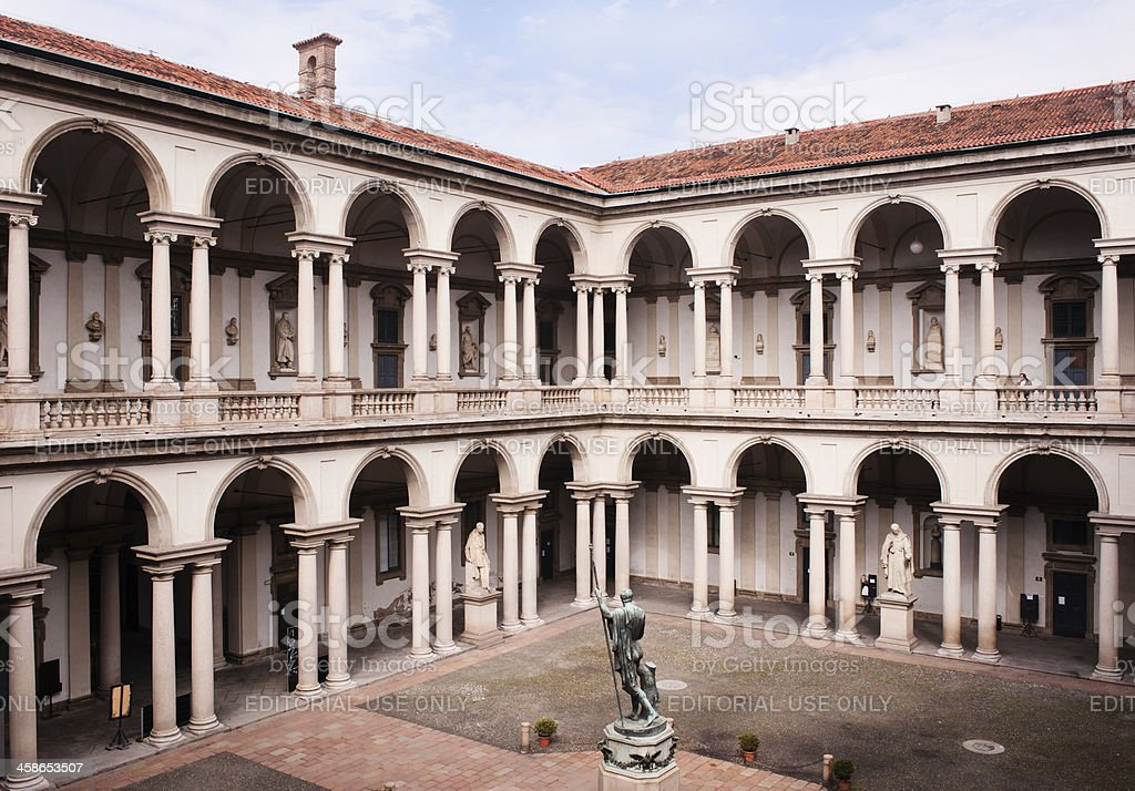 Courtyard of the Brera Palace in Milan. stock photo