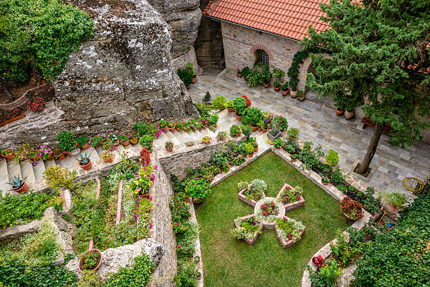 Courtyard of the Holy Monastery of Rousanou in Greece stock photo