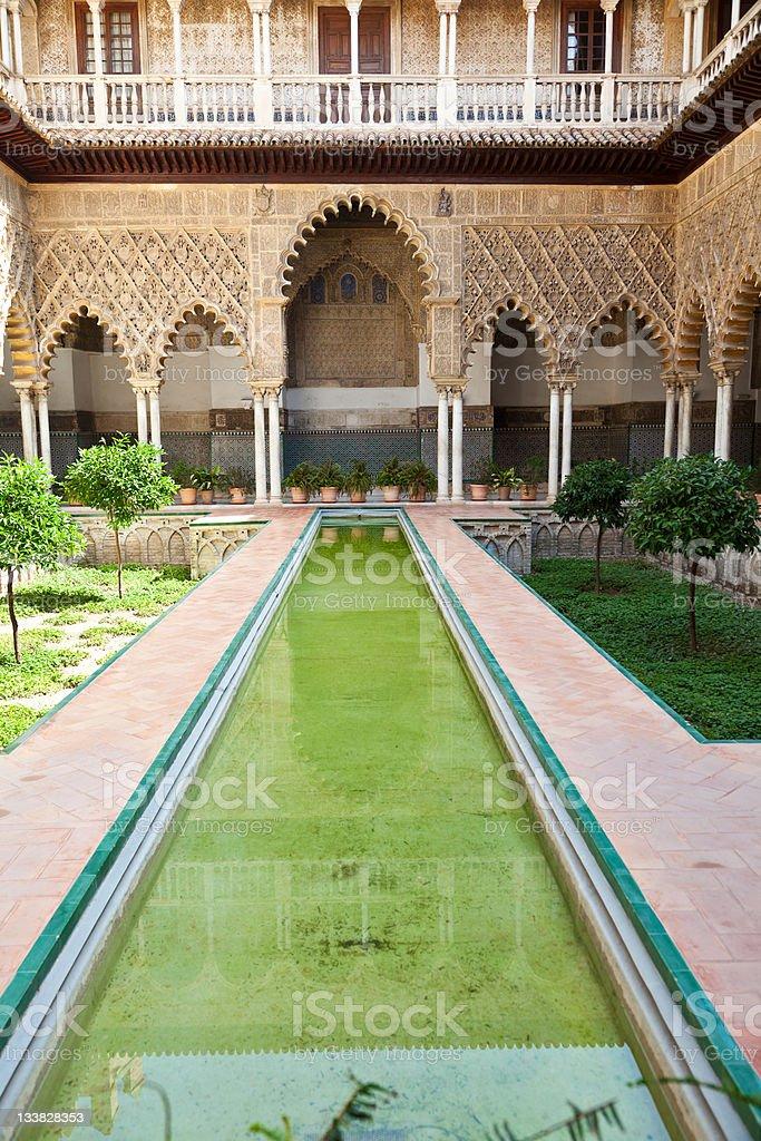 Patio de las Doncellas. Reales Alcazares. Sevilla. stock photo
