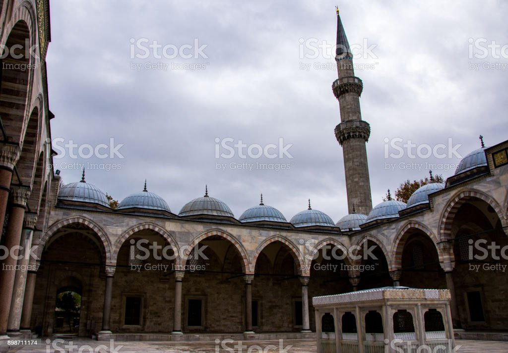 Courtyard of the Suleymaniye mosque stock photo
