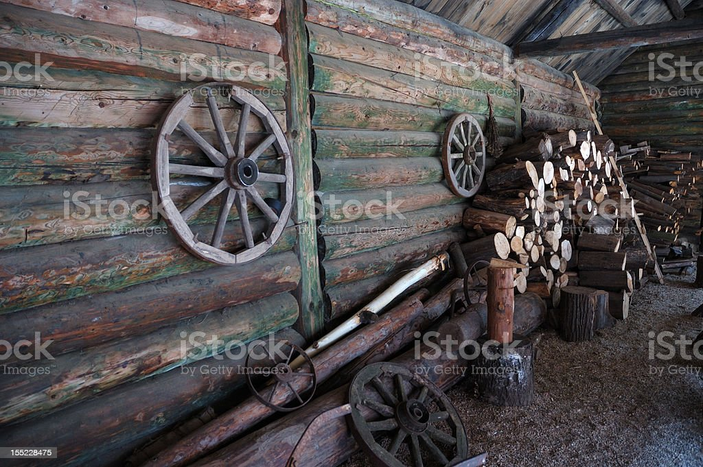 Courtyard of traditional russian farm royalty-free stock photo