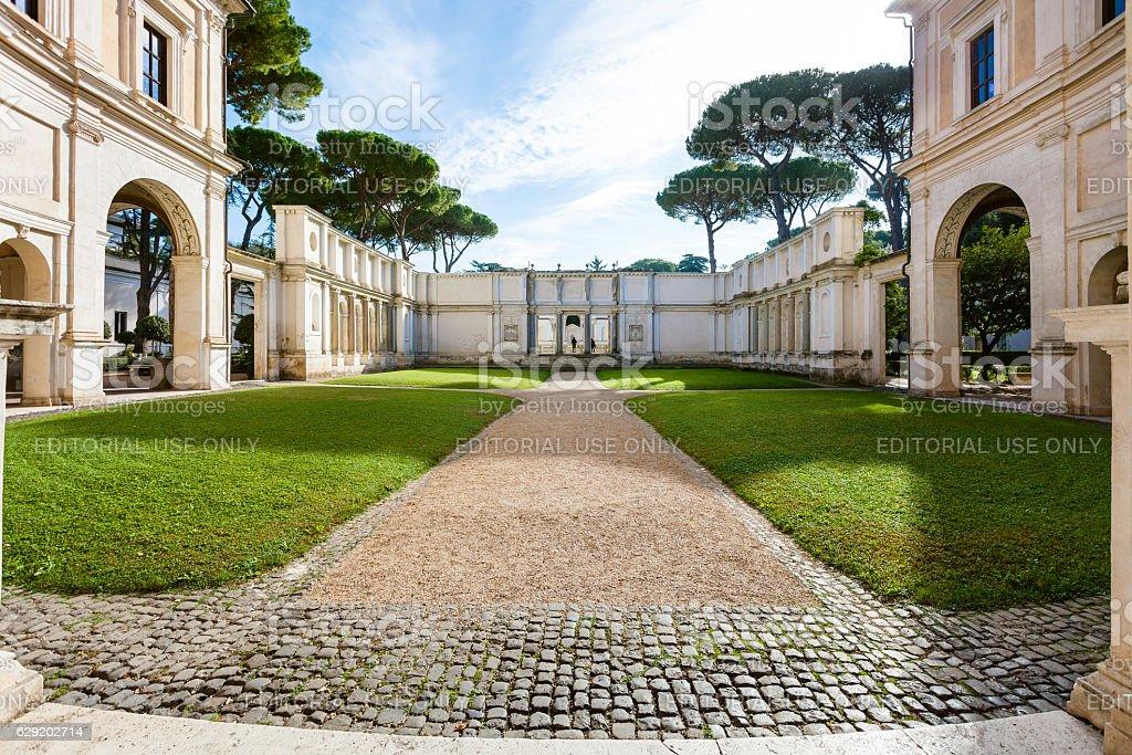 courtyard of Villa Giulia in Rome city stock photo