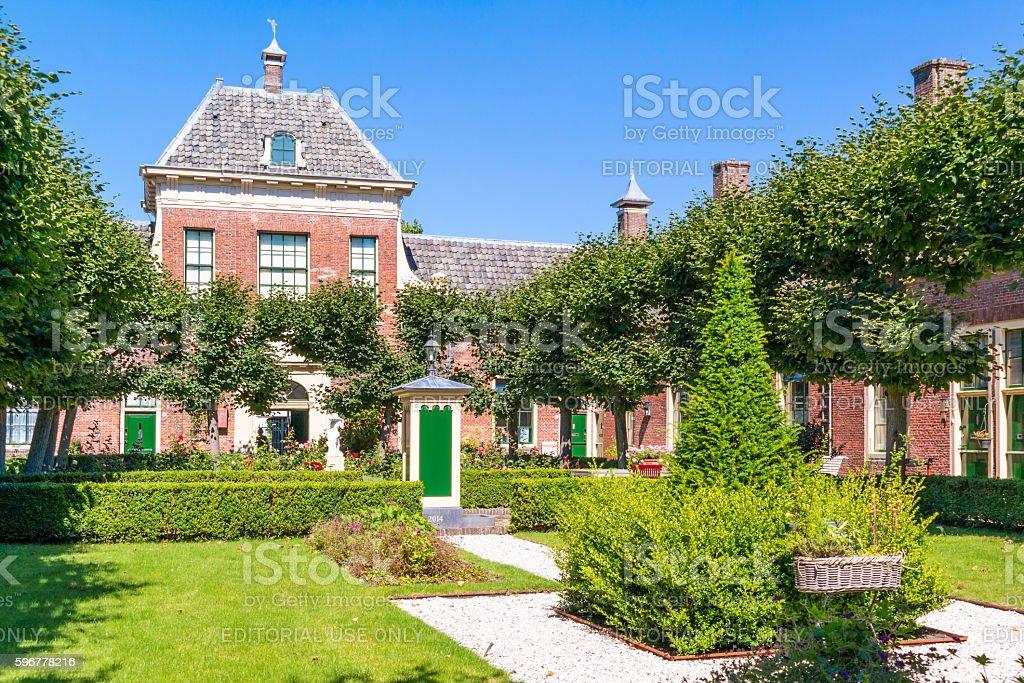 Courtyard of Wildemanshofje in Alkmaar, Netherlands stock photo