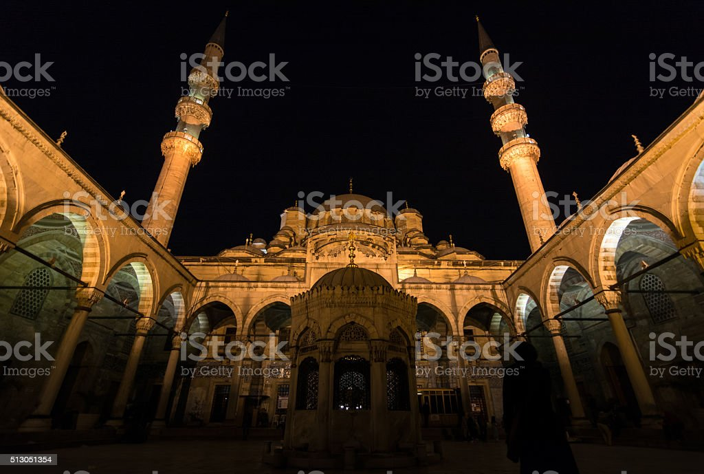 Courtyard of Yeni Cami Mosque stock photo