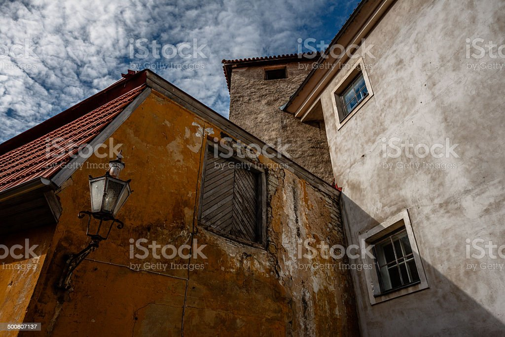 Courtyard Tallinn Old Town stock photo