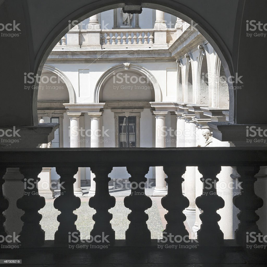 Courtyard view of Pinacoteca di Brera, Milan, Italy stock photo