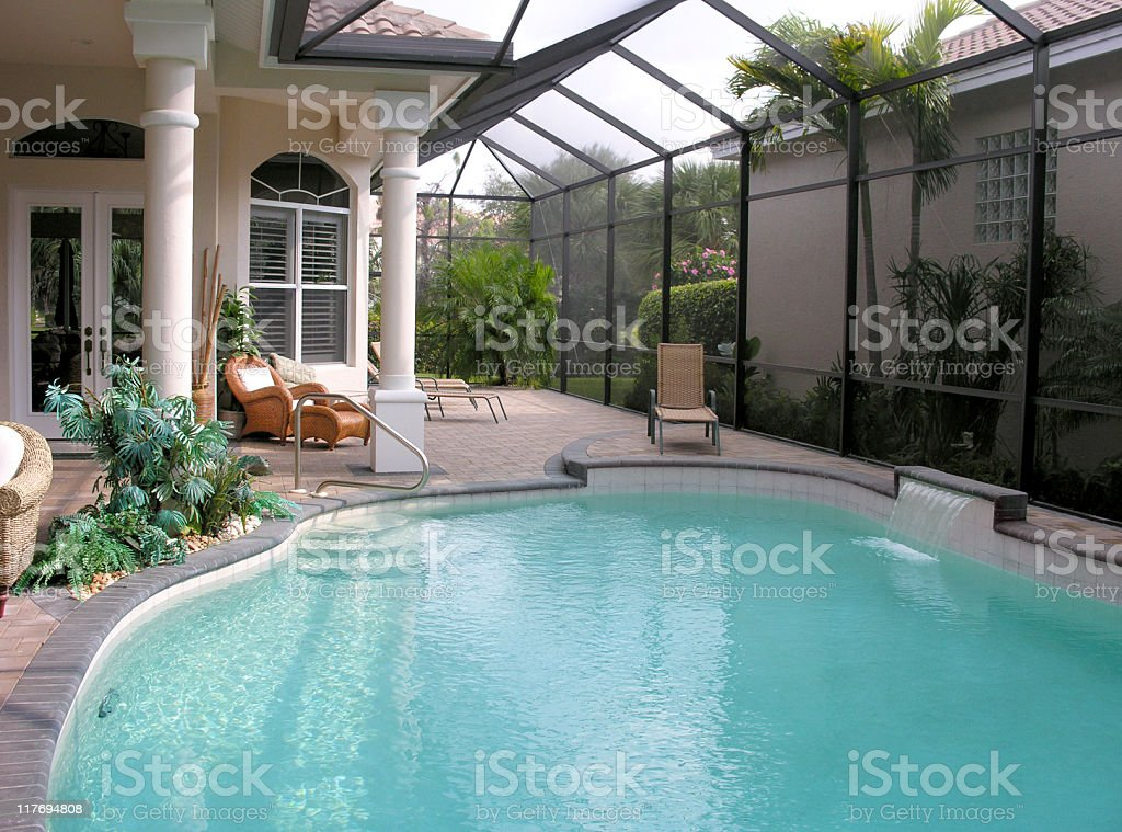Courtyard with Pool stock photo
