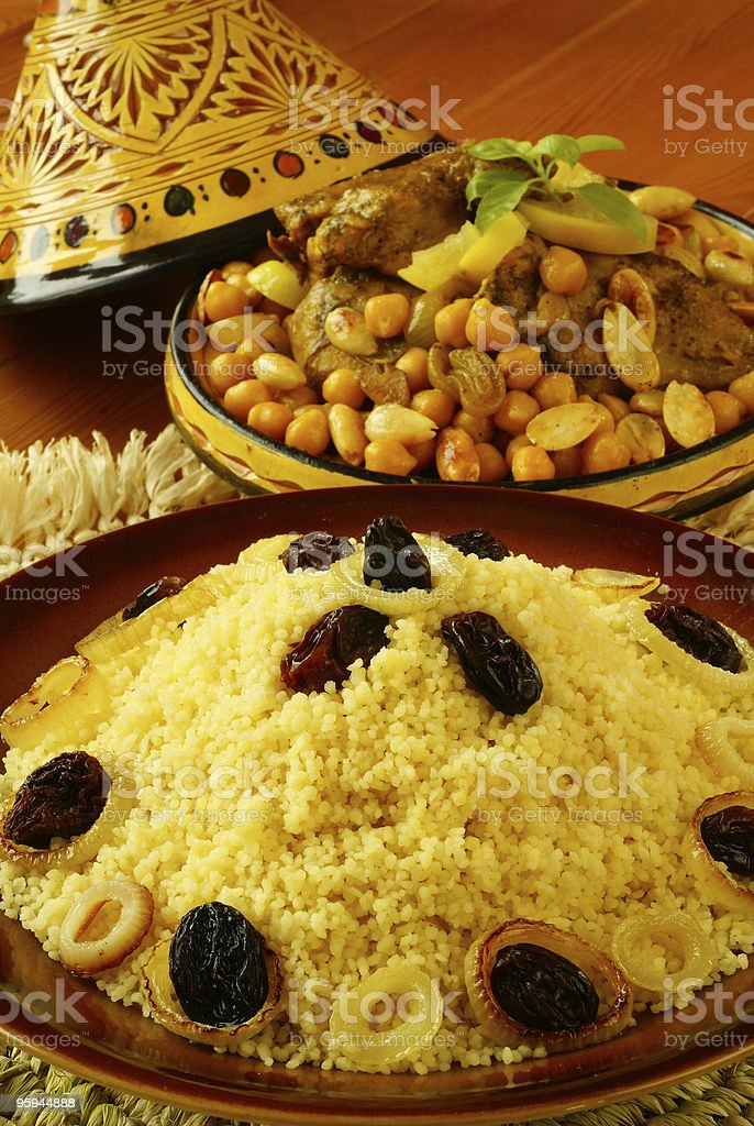 Couscous and Morrocan chicken royalty-free stock photo