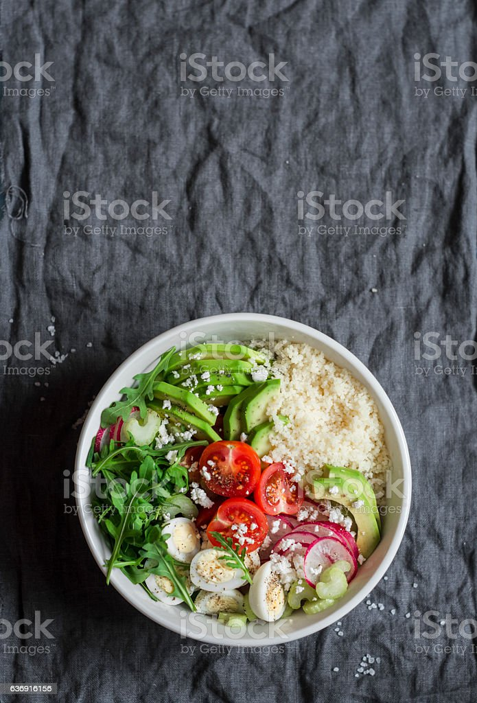 Couscous and vegetables bowl. Healthy, diet, vegetarian food concept stock photo