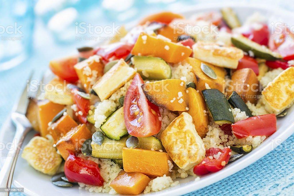 Couscous, butternut, pepper salad stock photo