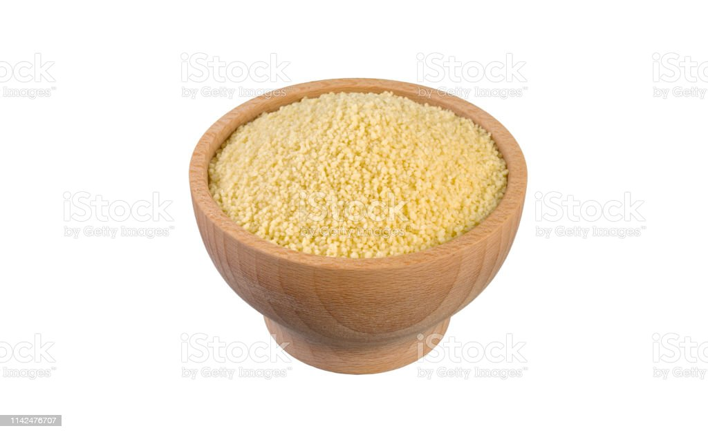 Couscous In Wooden Bowl Isolated On White Background Nutrition Food Ingredient Stock Photo Download Image Now Istock