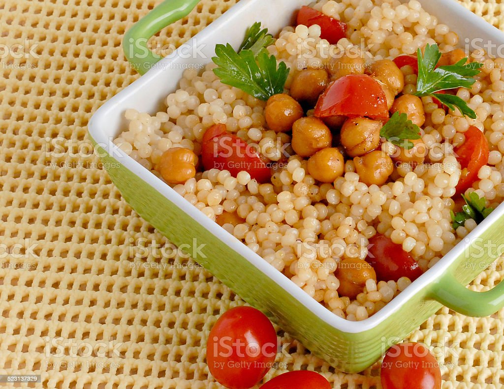 Couscous with Chic Peas stock photo
