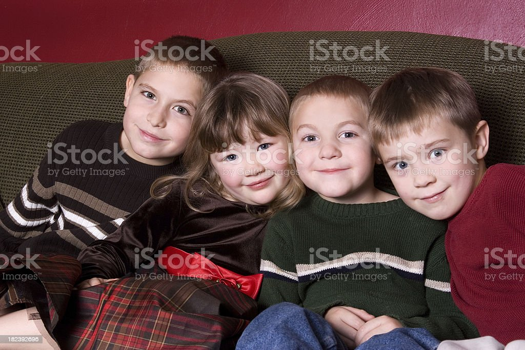Cousins on the couch stock photo