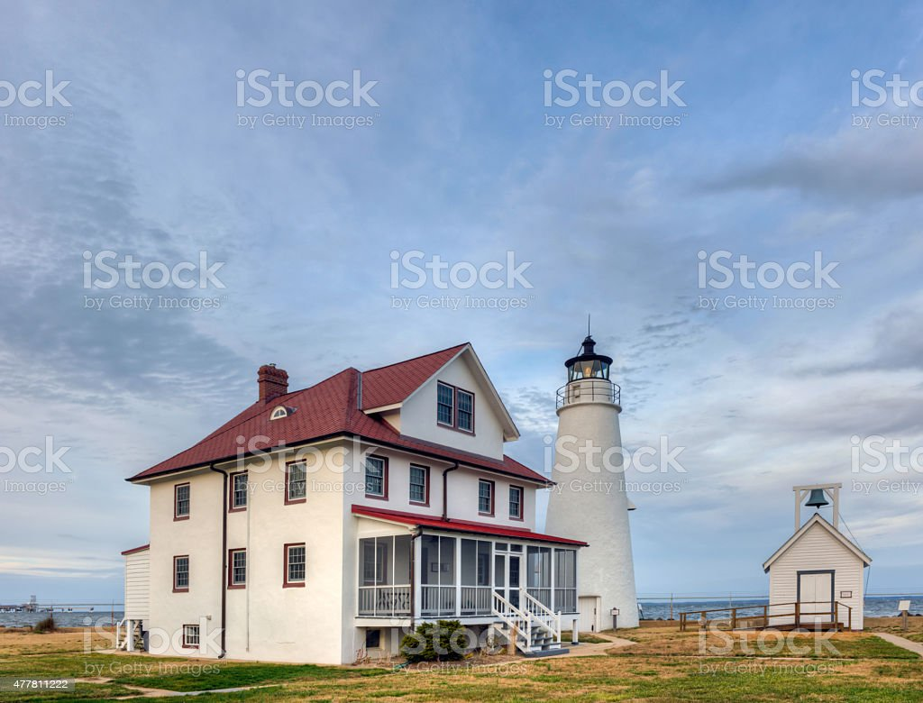 Cove Point Lighthouse on the Chesapeake Bay stock photo