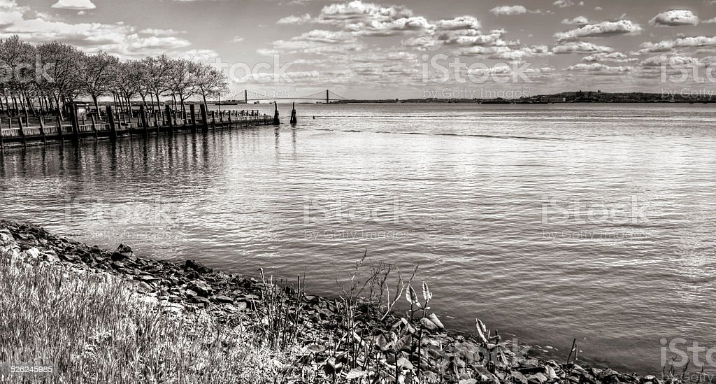 Cove with Verrazano Bridge in Distance stock photo