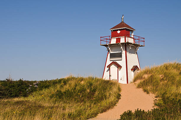 covehead harbor lighthouse - prince edward island stock photos and pictures
