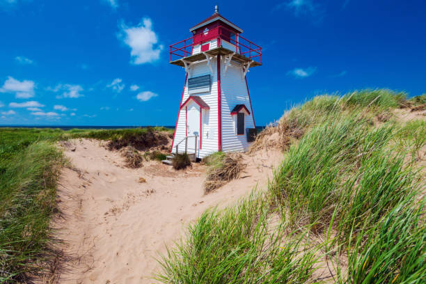 covehead harbour lighthouse on prince edward island - prince edward island stock photos and pictures