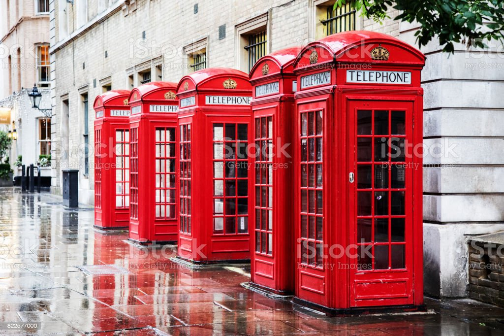 Covent Garden phone boxes stock photo