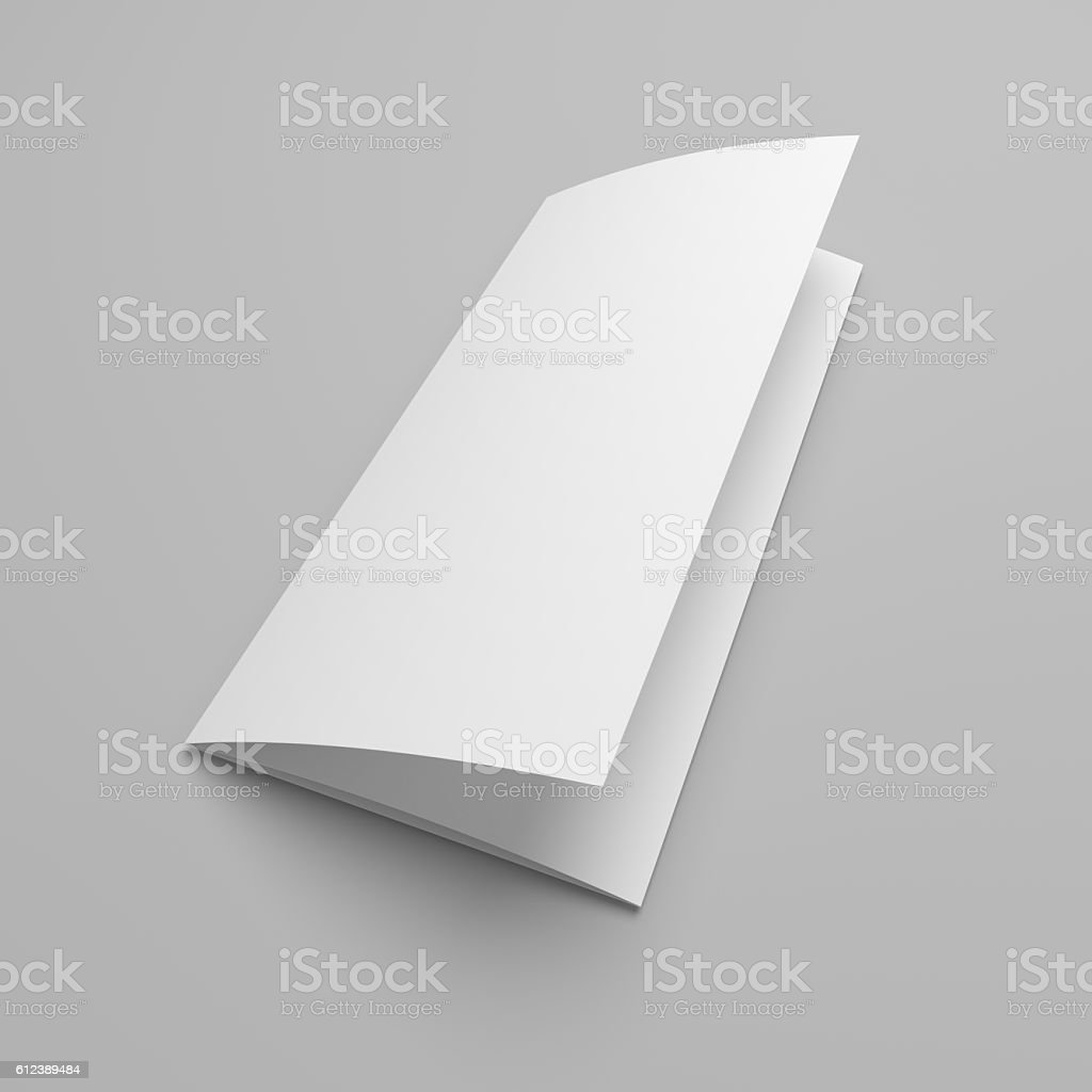 Cover 3d illustration tri-fold brochure mock-up. stock photo