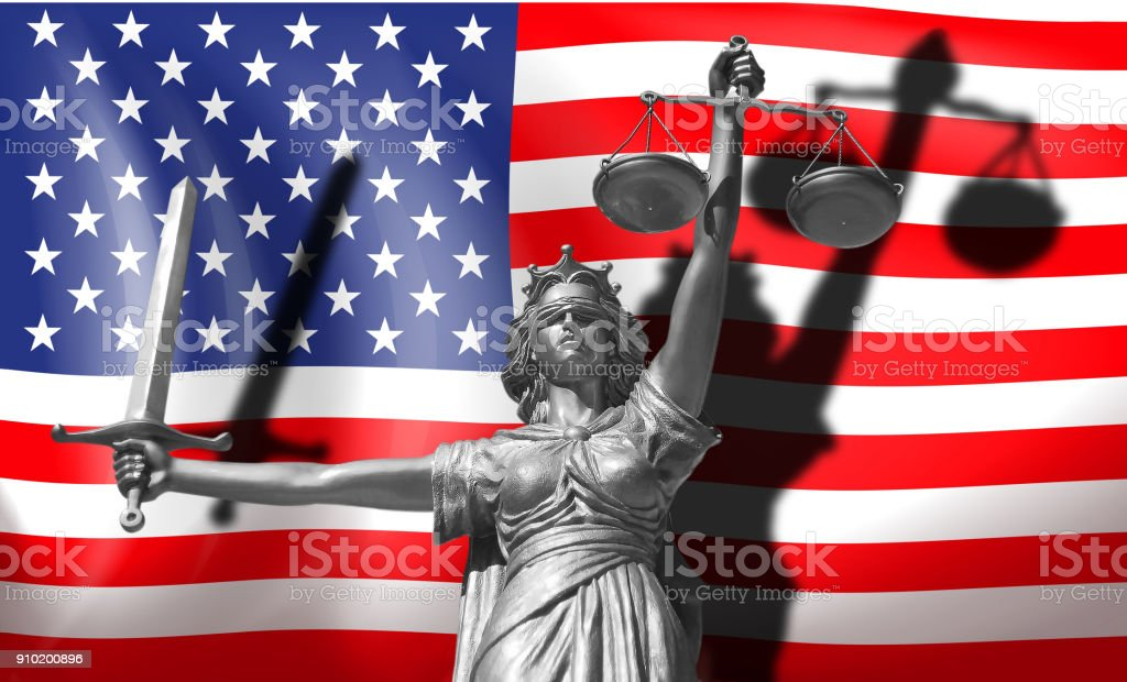 Cover about Law. Statue of god of justice Themis with Flag of USA background. Original Statue of Justice. Femida, with scale, symbol of justice with USA flag 3d rendering. stock photo