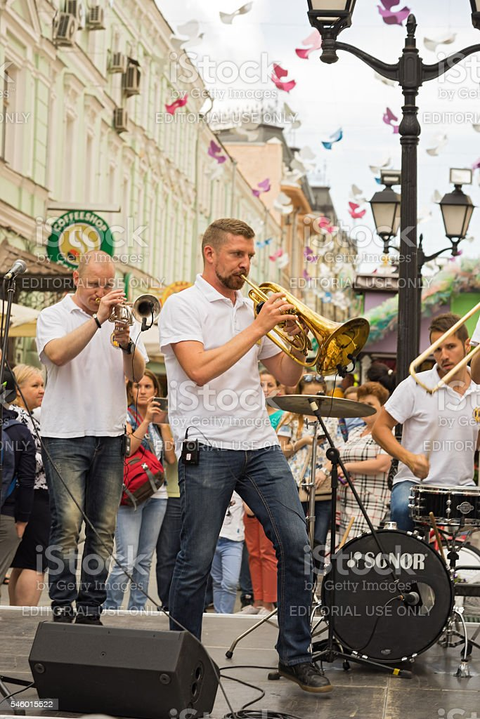 cover band Brevis Brass Band stock photo